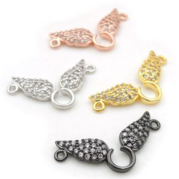 charms loops Australia - 24*10*2mm Micro Pave Clear CZ 2 Wings Charms Of Double Loops Fit For Making Necklaces Jewelry