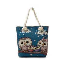 Large Beach Canvas Prints Australia - good quality Summer Canvas Beach Bag Female The Owl Family Printed Tote Hangbags Women Casual Lady Shoulder Bag Canvas Tote Women