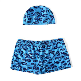 Toddler Sexy UK - Swimming Shorts for Boys Cartoon Sexy Swimwear Kids Boy Cap Shorts 2 Pieces Toddler Boys Swimsuit Children Swim Trunks for Kids