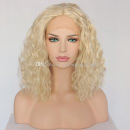 $enCountryForm.capitalKeyWord NZ - Fast Shipping Halloween Wigs 14inch Short Bob Curly Synthetic Lace Front Wigs Blonde Middle Parting Heat Resistant Fiber Wig for Black Women