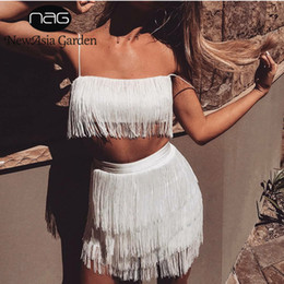 $enCountryForm.capitalKeyWord Australia - Newasia Garden Two Pieces Set Summer Fringe 2 Piece Set Women Quaste Crop Top And Rock Set Sexy Outfits For Women Matching Sets Y19071301