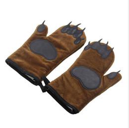 $enCountryForm.capitalKeyWord UK - 1 Pair Bear Paw Kitchen Oven Gloves - BBQ Heatproof Cooking Microwave Cotton Silicone Mitt Thicken Non-slip Glove