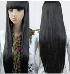 straight synthetic wigs NZ - YU YING Wig Fashion Women Long Black Straight Cosplay Full Synthetic Wigs free shipping