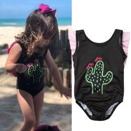 0ea25e9849041 Summer Baby Girls Clothes Bikini One-Piece Sleeveless Cactus Print Swimwear  Infant Children Kids Boy Beachwear Swimming