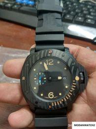 Movimiento de relojes de alta calidad Pannai automático de los hombres Carbotech Negro Dial de la goma de Shiping en venta