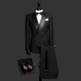 Solid Cotton Shawl Australia - Men's suit men's double-breasted shawl collar fashion solid color business formal suit two-piece suit (jacket + pants) support customization