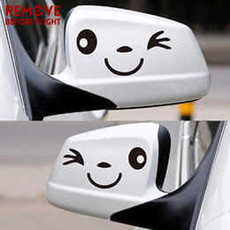 Cute Cartoon Pairs Australia - 1 Pair Cute Smile Face Reflective Vinyl Car Sticker car styling Cartoon stickers Decal for Auto rearview mirror