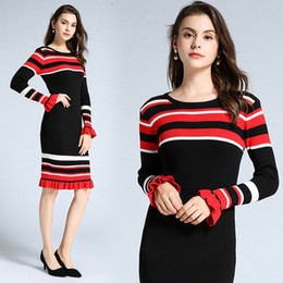 womens sweater dresses Australia - New listing 2019 womens knit dress striped bag hip long sleeve bottoming skirt long section sweater skirt thick knit dress