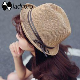 Straw Fedora Beach Hat Australia - wholesale Summer Straw Hat Women Panama Hat Female Bowknot Sun Hat Cap Lady Travel Beach Cap Fedora Chapeu Feminino Sombrero Femme