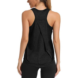 solid racerback tank tops wholesale Canada - Women Sexy Open Back Sport Solid Yoga Shirts Tie Workout Racerback Tank Tops fitness tops women sport shirt