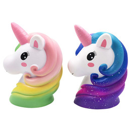 unicorn soft toys NZ - Colorful horse head PU foam cute soft jumbo squeeze toys antistress stress relief toy squishies animals squishy unicorn