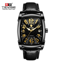 tevise automatic watch men Australia - New Style Tevise Brand Luxury Men Square Waterproof Stainless Steel Business Watch Men's Automatic Mechanical Watch Analog Clock J190706