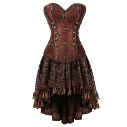 1040d8d435 plus size 6XLsteampunk corset bustier brocade sexy gothic punk buckles  leather Corsets Dress with Skirt burlesque pirate costume