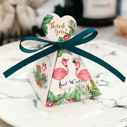 Wrapping Paper For Chocolates Australia - 100pcs Tropical flamingo candy paper bags Ribbons Tags Sweet Chocolate Wedding gift boxes DIY craft bags for Bridal festival Party Favors