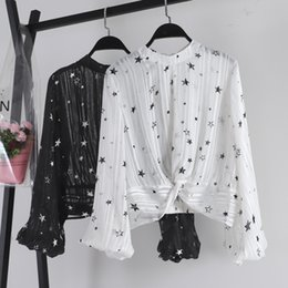 Knot Shirts Australia - Spring New Korean Stars Print Long Lantern Sleeve Chiffon Shirt Women Perspective Round Neck Knotted Blouse Tops G123