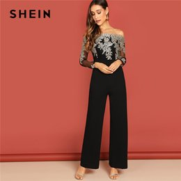 Long Jumpsuits Xs Australia - SHEIN Black Elegant Embroidery Sheer Mesh Off Shoulder Workwear Long Sleeve Straight Leg Jumpsuit Autumn Fashion Women Jumpsuits
