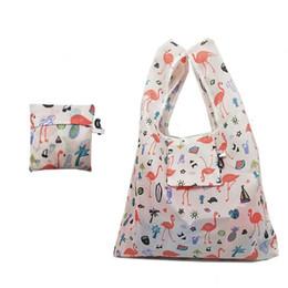 Large Capacity Shopping Bag Foldable Australia - Reusable Shopping Bags Flamingo Animal Women Foldable Tote Bag Portable Cloth Eco Grocery Bag Folding Large Capacity Handbags