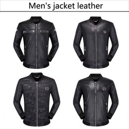 Mens fitted leather jackets online shopping - 2019 famous brand mens faux fur coats clothes fashion pilot motorcycle imported pp skull leather jacket men slim fit coat