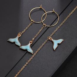 $enCountryForm.capitalKeyWord NZ - Jewelry Set Women Mermaid Pendants Gold Chain Short Choker Necklace Earrings Cute Necklace Friends Lovers Jewelry Gift