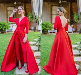 modern formal suits NZ - New Sexy Elegant Red Suits Evening Dresses Deep V Neck Backless Sash With Overskirts Long Formal Evening Gowns Red Carpet Party Dress 2020