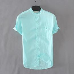 $enCountryForm.capitalKeyWord Australia - Single Pocket Shirts Men 100% Pure Linen Short Sleeve Slim Shirt Fit Stand Collar Casual Tops Brand Clothing Y235