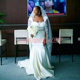 $enCountryForm.capitalKeyWord Australia - Elegant Capped Mermaid Wedding Dresses Beads Sash Satin White African Country Cheap Bridal Gown Bride Dress Custom Vestido de novia