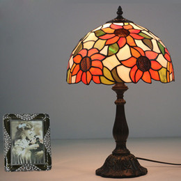 Discount vintage sunflowers - Sunflowers Stained Glass Lampshade Light Tiffany Table Lamps Europe Country Style Restaurant Study Lamp Home Decor Bedsi