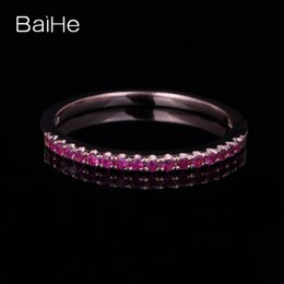 Rose Gold Cluster Engagement Rings Australia - BAIHE Solid 14K Rose Gold(AU585) About 0.2ct Flawless Round cut 100% Genuine Rubies Wedding & Engagement Women Fashion Gift Ring