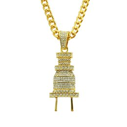 $enCountryForm.capitalKeyWord UK - Hip Hop Rap Full Diamond Plug Pendant Necklace Gold Plated Silver Plated Cuban Chain Iced Out Alloy Pendant Necklace