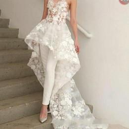Zuhair Murad Lace Dress White Australia - New Sexy Bohemian White Jumpsuits Wedding Dress Long Train 2019 Zuhair Murad Sweetheart Lace 3D Floral Appliques bridal wedding gown BC1820