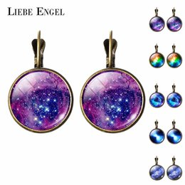 galaxy stud UK - LIEBE ENGEL Fashion Jewelry Galaxy Picture Stud Earring Glass Cabochon Earrings For Women Bronze Color Accessories Pretty Gifts