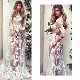 $enCountryForm.capitalKeyWord Australia - Sexy See Through White Lace Dresses for Party Weddiing Hot Sale Women Fashion Slim Long Sleeve Dress