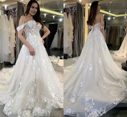country style dresses for weddings UK - Off Shoulder Lace floral Wedding Dresses For Bride Appliques Sweep Train Country Style Bridal Gowns Modern Garden Church Vestidoe De Noiva