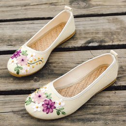 b50f461479eb3 Plus Size 42 Women Flat Shoes Round Toe Embroider Slip On Shoes For Woman  Chinese Style Flax Casual Old Beijing Cloth Sho