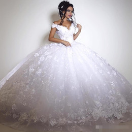 $enCountryForm.capitalKeyWord Australia - Dubai Lace Wedding Dresses Vintage Big Ball Gown Arabic Bridal Gowns Off Shoulder Lace Up Back Floor Length White Ivory Gorgeous Dress
