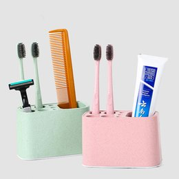 Wholesale PP Plastic Toothbrush Organizer Holder Hole Stand Bathroom Toothpaste Storage Box Durable Household Comb Organizer