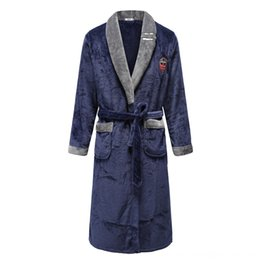 kimono underwear sleepwear UK - Unisex Oversize 3XL Loose Kimono Gown For Male Nightdress Bathrobe Coral Fleece Men's Underwear Underwear Robe Sleepwear Turndown Collar Neg