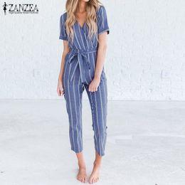 $enCountryForm.capitalKeyWord Australia - 2019 Zanzea Women Striped Jumpsuits Summer V Neck Short Sleeve Rompers Casual Elegant Office Work Playsuits Bow Tie Overalls Y19060501