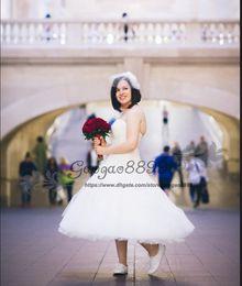 $enCountryForm.capitalKeyWord NZ - Vintage Lace Tea Length Short hippie Wedding Dresses 2019 sweetheart silver 3D appliques embroidery Garden plus size corset Bridal Gowns