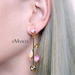 Copper Earrings Australia - hanging eManco Wholesale Crystal Dangle Drop 4 Items Copper Girls Earrings Geometric Fashion Jewelry oorbellen voor vrouwen