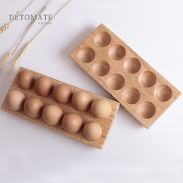 ChoColate wood online shopping - Easter Rubber Wood Eggs Tray Double Row Solid Wooden Succulent Plants Trays Flowerpot Wear Resistant Unbreakable Tools Creative