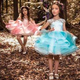 $enCountryForm.capitalKeyWord Australia - Gorgeous Baby Girls Glitz Beaded Pageant Cupcake Gowns Withe Flowers Infant Mini Short Skirts Toddler Girls Soft Lace Pageant Dresses 2019