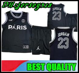 801f97358 18 19 psg camiseta de fútbol Jersey de baloncesto negro Tercer blanco DI  MARIA CAVANI MBAPPE VERRATTI conjunto de niños chaleco Sin manga kit para  niños
