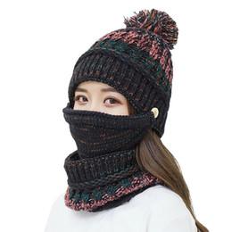 Crochet Ski Mask Australia - Newest Hot HatWomens Crochet Knitted Woolly Hat With Scarf Mask Beanie Warm Fleece Ski Hat Ski Chic Cap