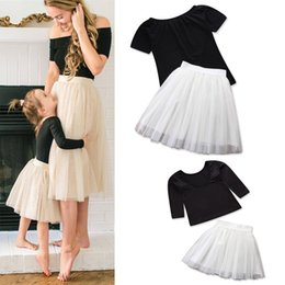Tutus Sets Australia - Family Matching Clothes Mom and Daughter Clothes Set Teenager Girls Clothing Black T shirt Tutu Skirt Two Piece Set Outfits