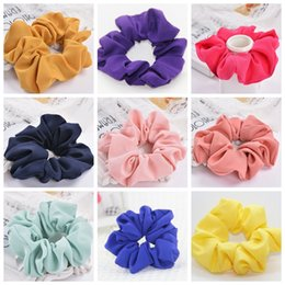 Discount scrunchies hair accessories - Scrunchies Headband Solid Girls Chiffon Hairbands Hair Rubber Band Elastic Ponytail Holder Trendy Hair Accessories 20 De