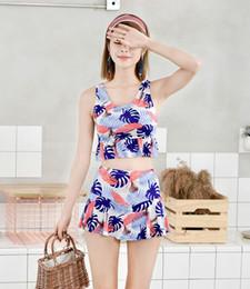 Small bikini StyleS online shopping - Split Swimsuit Female Bikini Two piece Flat Skirt Style Halter Top Fashion Korean Student Small Fresh Hot Spring Swimsuit