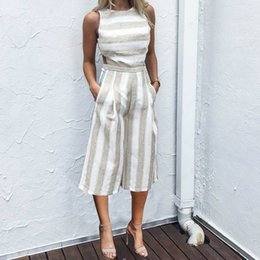 $enCountryForm.capitalKeyWord NZ - 2019 summer women's clothes hot selling jumpsuits wind strap striped cotton and linen seven-point wide leg jumpsuit women rompers clothing