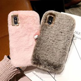 $enCountryForm.capitalKeyWord NZ - happy Happy Cute Fluffy Rabbit Hair Fur Case For iPhone XS Max XR X 8 7 6S Plus Cover Lovely Warm Bling Soft Phone Cases