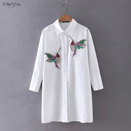 blue embroidered blouse NZ - Bird Women Blouse Embroidered Long Sleeve High Quality White Turn Down Collar Shirt Women Tops Chemisier Femme